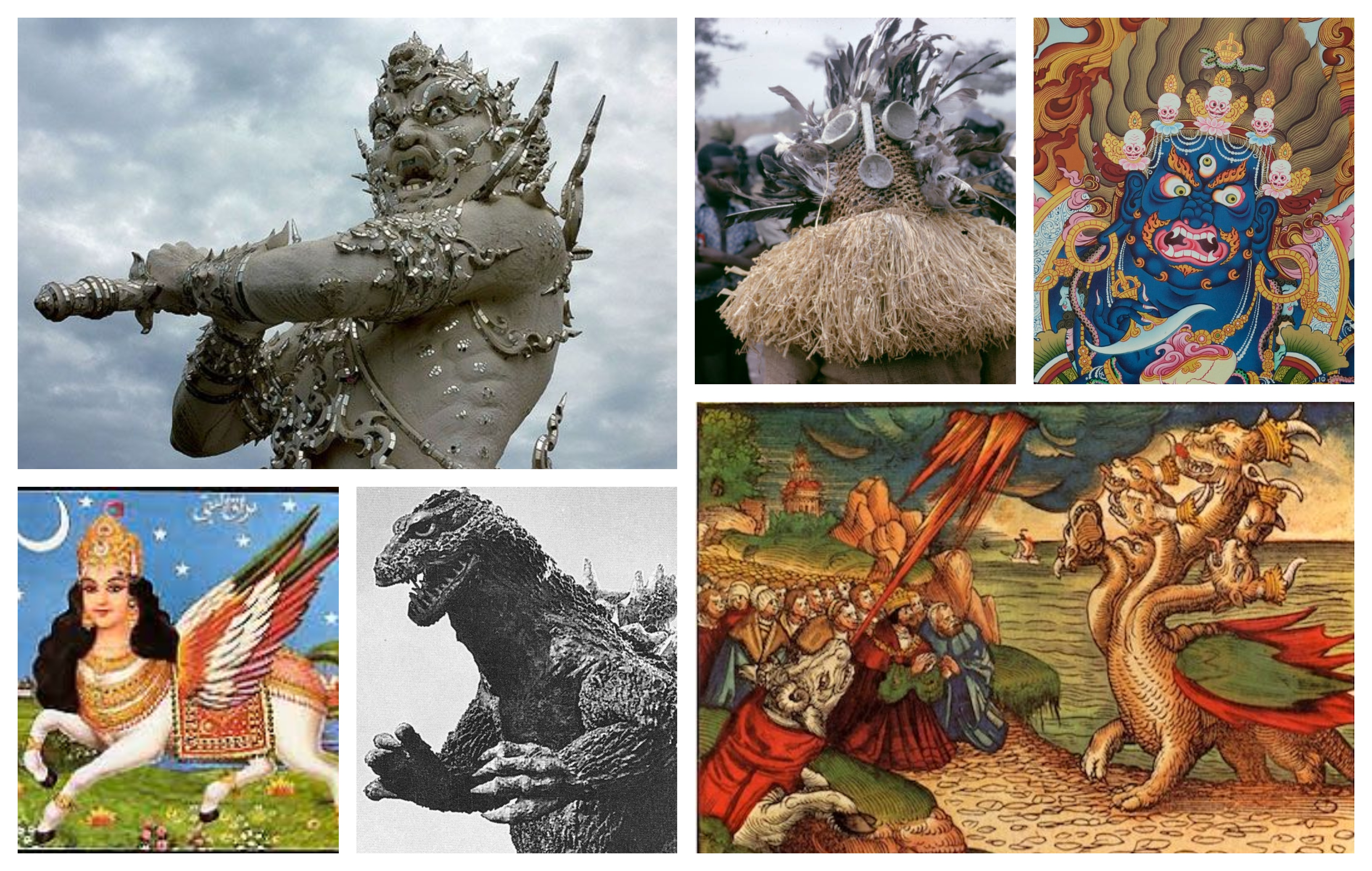A collage of monstrous figures from various religious traditions